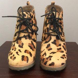 Shoemint Shoes - Shoemint Jolly cheetah ponyhair wedges